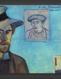 Emile Bernard: Self Portrait with portrait of Gauguin