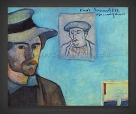 Emile Bernard: Self Portrait with portrait of Gauguin 1888