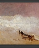 Joseph M.W. Turner: Shore Scene with Waves and Breakwater